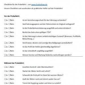 Checkliste Probefahrt